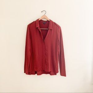 James Perse Soft Collage Contrast Button Down Top